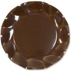 Petites Assiettes Vagues Rondes en Carton Chocolat