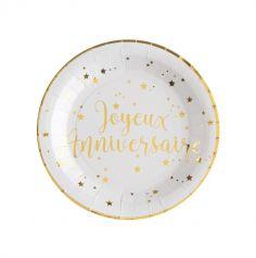 """10 Assiettes """"Joyeux Anniversaire"""" - Blanc / Or"""