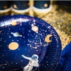 8 Assiettes en Carton - Astronaute