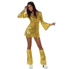 Déguisement Femme Disco Robe Or