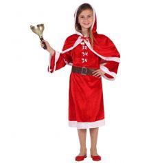 Costume Mère Noël Robe avec Capeline Fille