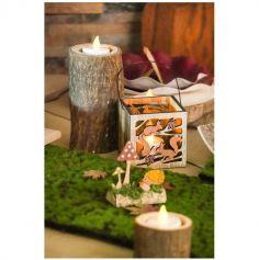 Lanterne en bois avec des motifs Ecureuil - Automne - 8 x 8 x 8 cm