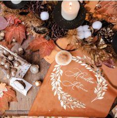 Chemin de table en velours - Merveilleux Automne Orange Brulé et Or
