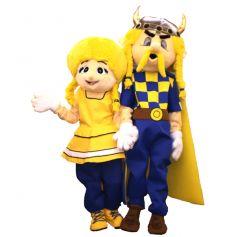 Mascottes Couple de Gaulois Jaune et Bleu