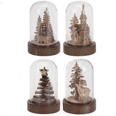 Décoration à Poser Noël - Bois - Petite Cloche Lumineuse - Modèle au Choix