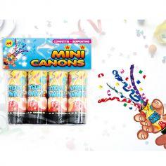 4 mini canons à confettis Anniversaire - Multicolores