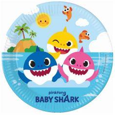 8 Assiettes en carton FSC® - Baby Shark™ - 23 cm