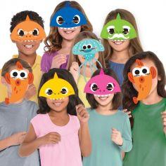 8 masques papier  baby shark | jourdefete.com