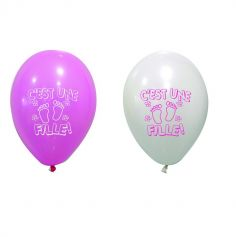 8 Ballons de Baudruche Blanc et Rose - C'est Une Fille
