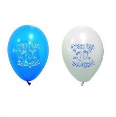 """Ballons de Baudruche Blanc et Bleu """"C'est un Garçon !"""""""