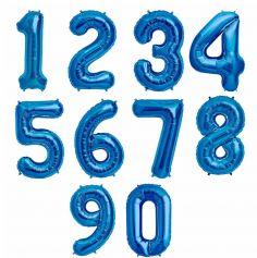 Ballon à air Chiffre Bleu - 66 cm - Chiffre au Choix