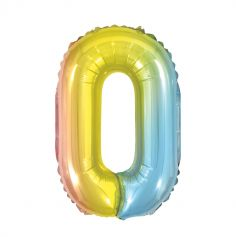 ballon à air chiffre au choix iridescent arc-en-ciel | jourdefete.com