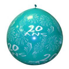 """Ballon de Baudruche Géant """"20 ans"""" 1 mètre - Coloris au choix"""