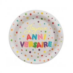 10 assiettes anniversaire ballons multicolores | jourdefete.com