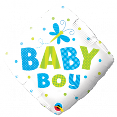 """Ballon Métallique Hélium Carré - """"Baby Boy"""""""