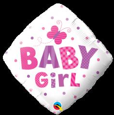"""Ballon Métallique Hélium Carré - """"Baby Girl"""""""