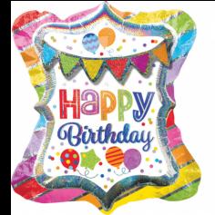 "Multi-Ballon Métallique Hélium ""Happy Birthday"" - Holographique"