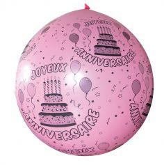 Ballon de Baudruche Géant Joyeux anniversaire 1 mètre - Coloris au choix