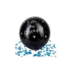 Ballon Géant Noir Confettis - Fille ou Garçon ? - 60 cm - Couleur au Choix