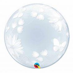Ballon Hélium Bubble Fleurs et Papillons