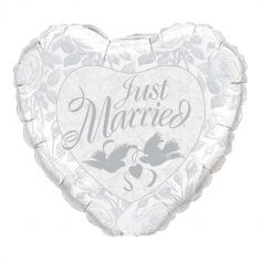 "Ballon Hélium Géant ""Just Married"" Argent - 91cm"