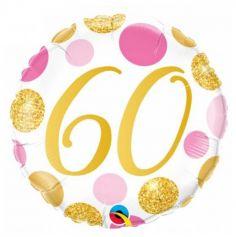 Ballon metallise 46 cm ⌀ -  60 ans - ballon geant gonflable a l'helium | jourdefete.com