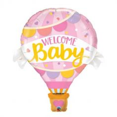 Ballon metallise géant - Welcome Baby Rose - gonflable a l'helium| jourdefete.com