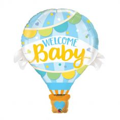 Ballon metallise geant - gonflage a l'helium - Welcome Baby Bleu | jourdefete.com