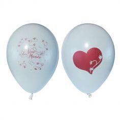 10 Ballons Vive les Mariés Blanc à personnaliser