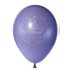10 Ballons Vive les Mariés Couleur Lilas