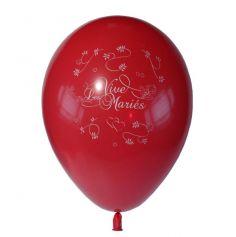 10 Ballons Vive les Mariés Couleur Rouge