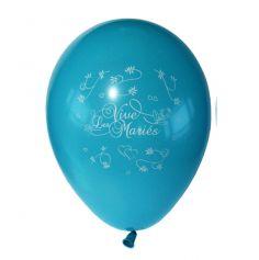 10 Ballons Vive les Mariés Couleur Turquoise