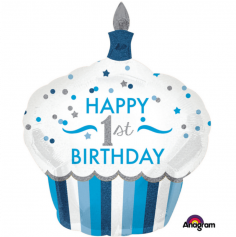 Ballon Joyeux Premier Anniversaire - Bleu Holographique