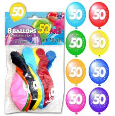 8 Ballons 50 ans Multicolore