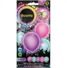 5 Ballons de Baudruche LED - Couleurs  Pastel Assorties