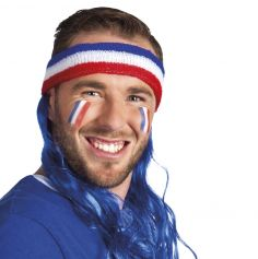 Bandeau Tricolore de Supporter Cheveux Bleus - France