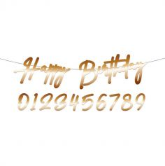 """Bannière de Lettres """" Happy Birthday """" avec âge à personnaliser - 1 m - Couleur au Choix"""