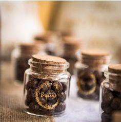 Fiole en Verre avec bouchon en liège - Baptême - Or