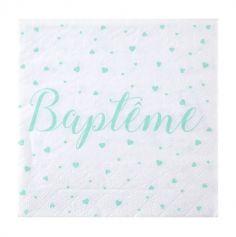 20 Serviettes Baptême - Vert Menthe | jourdefete.com