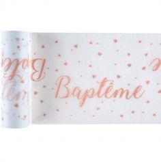 Ruban de Table Baptême – Corail | jourdefete.com
