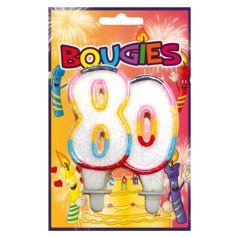 Bougie Anniversaire 80 ans Multicolore