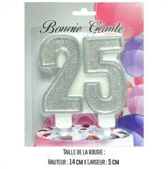 """Bougie géante """"25"""" - Argenté"""