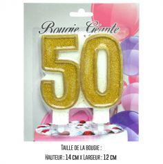 "Bougie géante ""50"" - Or"