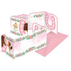 8 invitations avec enveloppes beaux chevaux | jourdefete.com