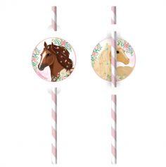 8 pailles en carton beaux chevaux | jourdefete.com