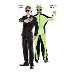 Déguisement Double Fun - Costume Noir / Alien - Taille au Choix