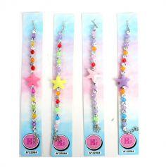 Bracelet de perles avec étoile - 17 cm - Couleur Aléatoire