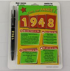Bloc-notes et Stylo Année de naissance 1948