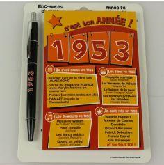 Bloc-notes et Stylo Année de naissance 1953