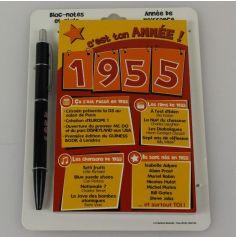 Bloc-notes et Stylo Année de naissance 1955